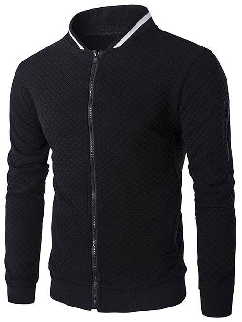 Rib Splicing Argyle Knurling Stand Collar Jacket - BLACK XL