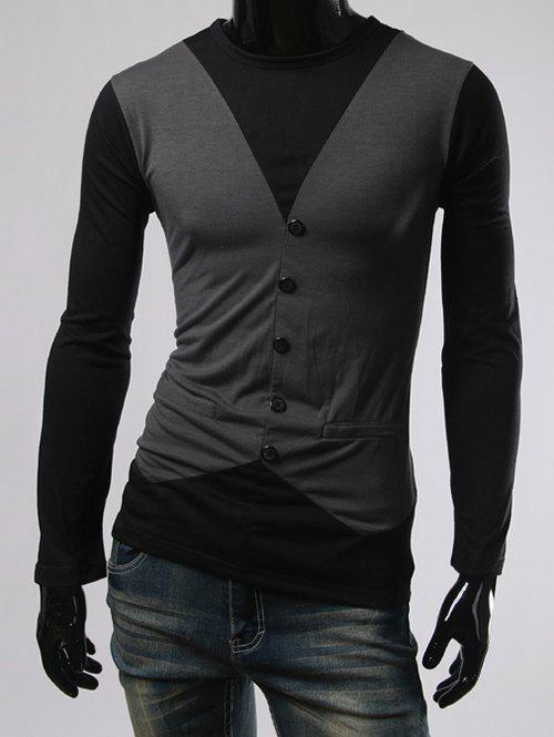 Round Neck Single-Breasted and Pcoket Embellished T-Shirt - DEEP GRAY XL