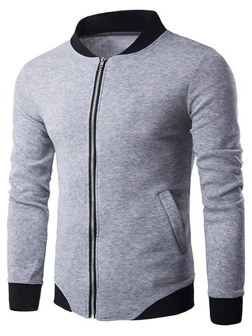Personality Hem Rib Splicing Zip-Up Jacket - LIGHT GRAY M