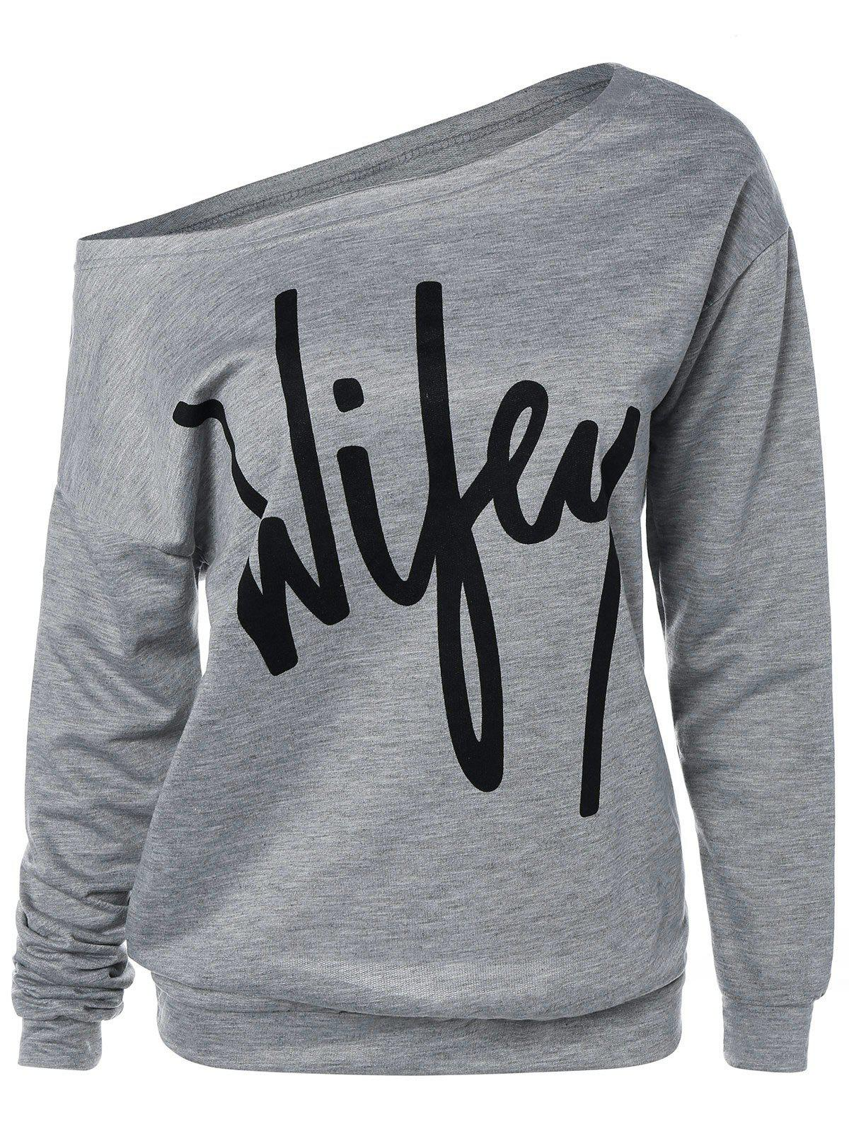 Wifey Print Skew Neck Sweatshirt - GRAY XL