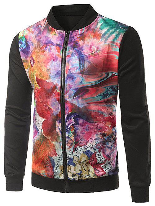 Colorful Floral Print Splicing Zip-Up Jacket - BLACK 2XL