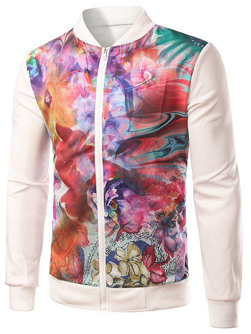 Colorful Floral Print Splicing Zip-Up Jacket - WHITE L