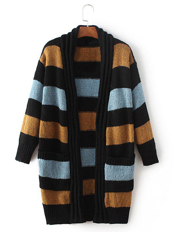 Striped Open Front Cardigan - DEEP YELLOW ONE SIZE