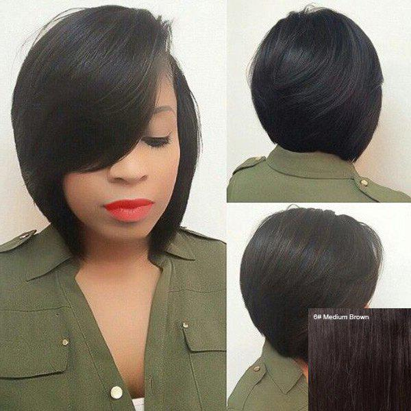 Straight Side Parting Short Capless Human Hair WigHair<br><br><br>Color: MEDIUM BROWN