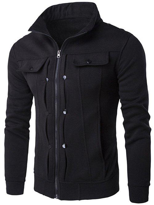 Buttoned Pleated Stand Collar Zip Up Jacket - BLACK 2XL