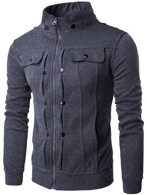 Buttoned Pleated Stand Collar Zip Up Jacket - DEEP GRAY L