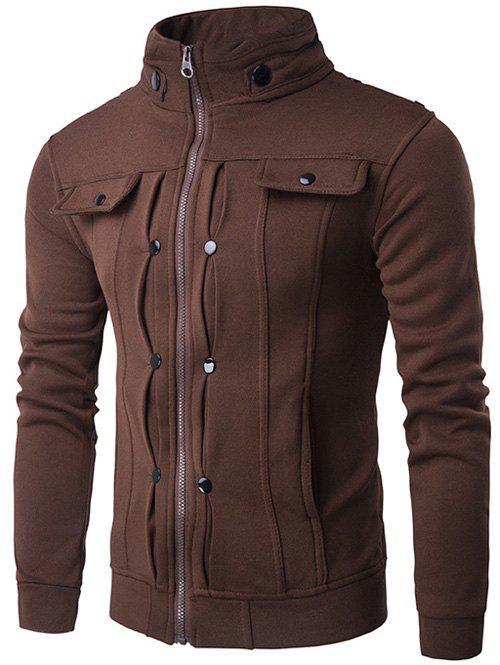 Buttoned Pleated Stand Collar Zip Up Jacket - COFFEE M