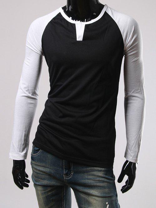 Color Block Slimming Raglan Sleeve T-Shirt - BLACK XL