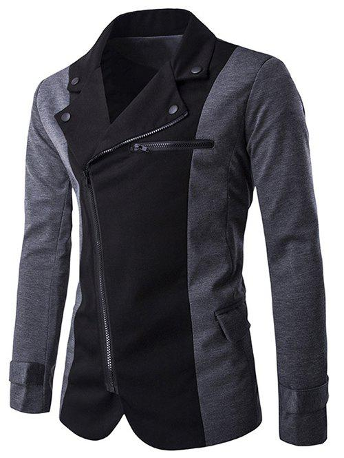 Color Splicing Inclined Zipper Fly Irregular Jacket - GRAY M