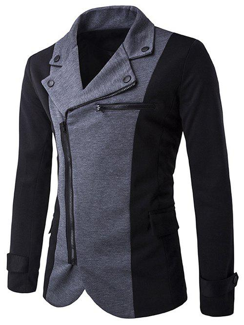 Color Splicing Inclined Zipper Fly Irregular Jacket - BLACK 2XL