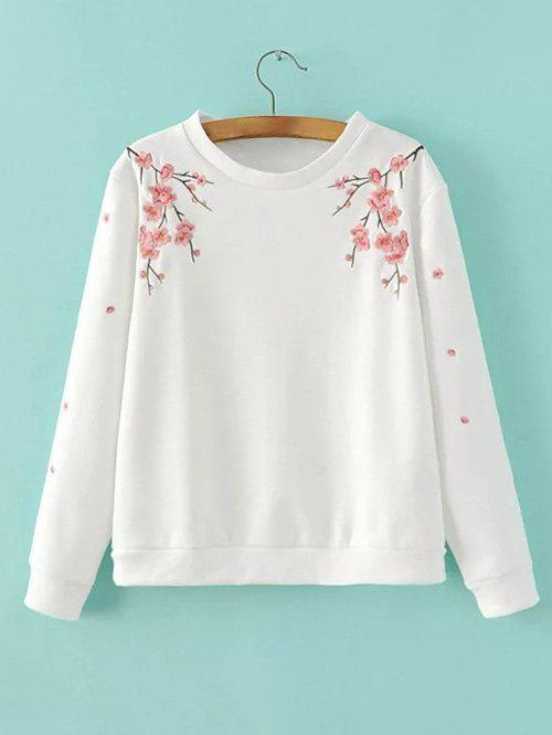 Wintersweet Embroidery Loose-Fitting Pullover Sweatshirt - WHITE L