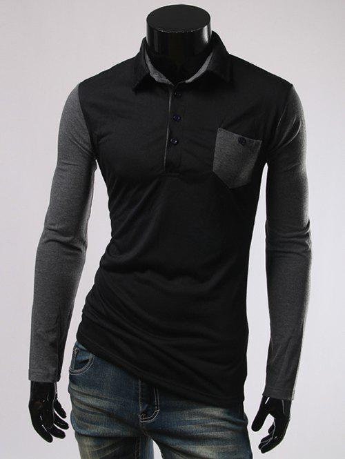Long Sleeve Button and Pcoket Embellished Polo T-Shirt - BLACK M