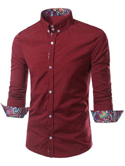 Style Ethnique Motif Splicing Tournez-Down Collar Button-Down Shirt - Rouge L