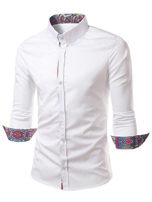 Ethnic Style Pattern Splicing Turn-Down Collar Button-Down Shirt - WHITE XL