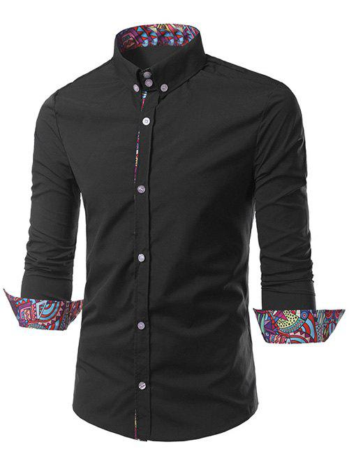 Style Ethnique Motif Splicing Tournez-Down Collar Button-Down Shirt - Noir 2XL