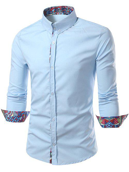 Ethnic Style Pattern Splicing Turn-Down Collar Button-Down Shirt - LIGHT BLUE 2XL