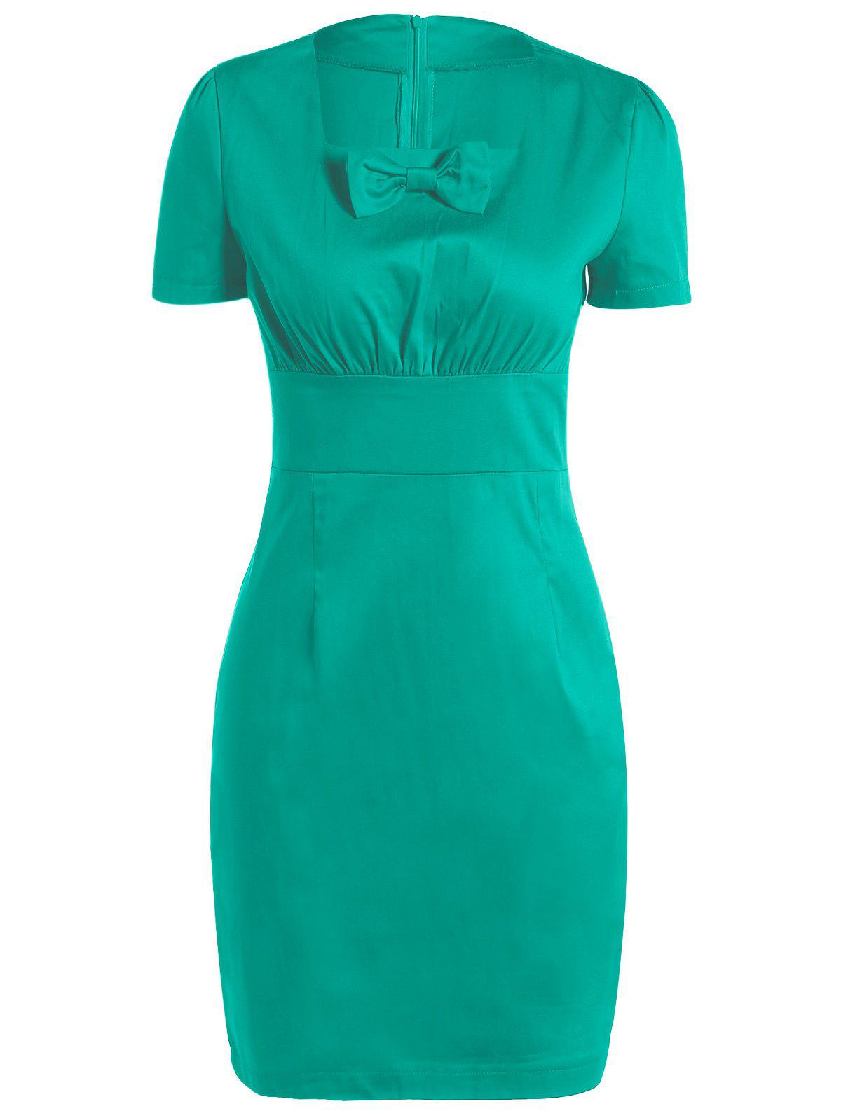 Vintage Square Neck Bowknot Draped Pin Up Dress - GREEN XL