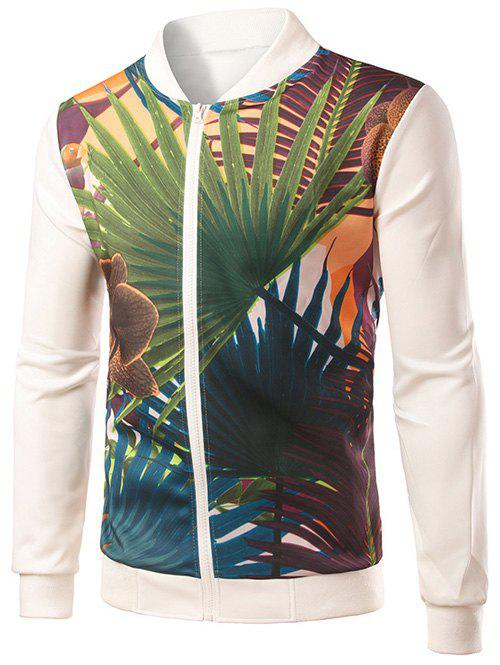 Rib Splicing Palm Frond Imprimer stand Collar Zip-Up Jacket - Blanc M