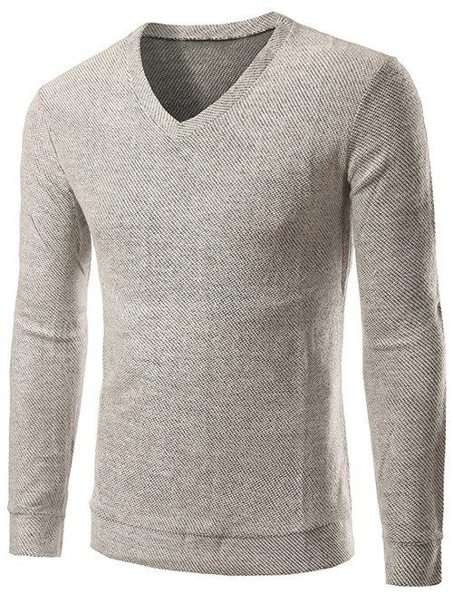 Manches longues col V Knitting Sweater - Blanc XL