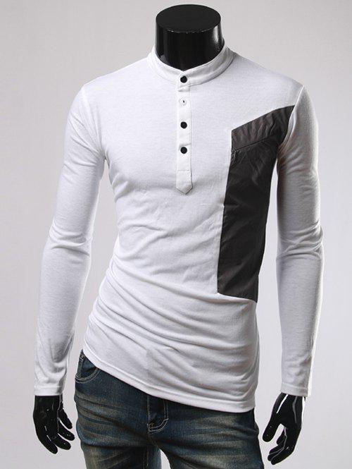 Long Sleeve Color Splicing Button Embellished T-Shirt - WHITE 2XL