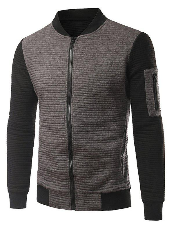 Ribbed Sleeve Pocket Insert Zip Up Jacket - GRAY L