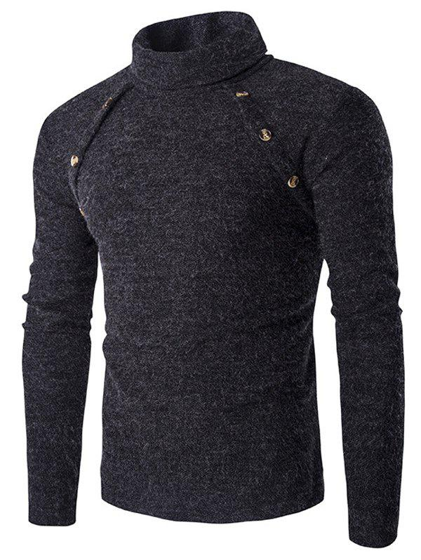 Button Design Long Sleeves Turtleneck Sweater button design long sleeve turtleneck sweater