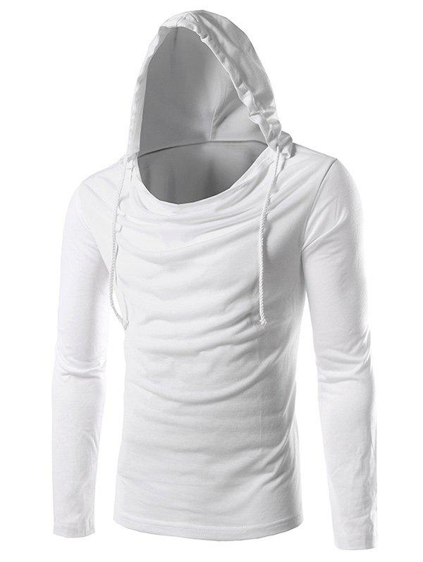 Plain Long Sleeve Drawstring Hooded T-Shirt, WHITE, XL in Long ...