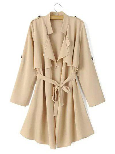 Tie Belt Epaulet Overlay Wrap Trench Coat - LIGHT KHAKI L