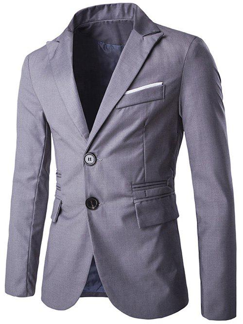 Lapel Edging single-breasted conception Blazer - Gris Clair L