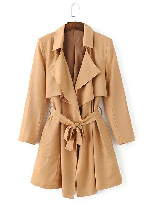Tie Belt Overlay Wrap Trench Coat - KHAKI S
