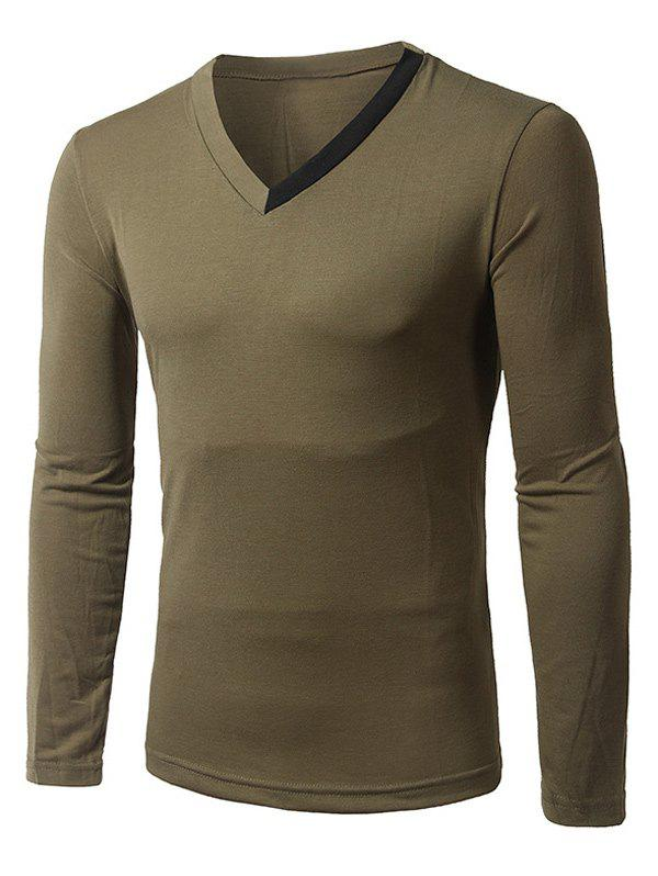 Long Sleeve Contrast Insert V-Neck T-ShirtMen<br><br><br>Size: L<br>Color: ARMY GREEN