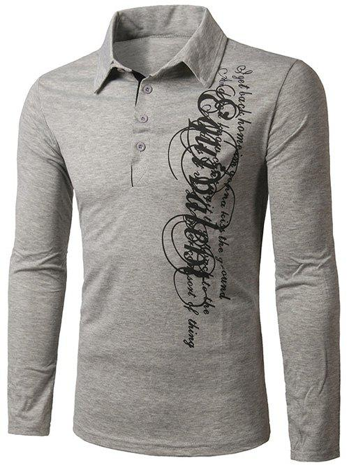 Turn-Down Collar Long Sleeve Graphic Print Polo T-ShirtMen<br><br><br>Size: 2XL<br>Color: GRAY