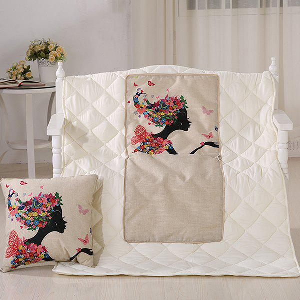 Summer Air Condition Girl Printed Noon Break Quilt - COLORMIX