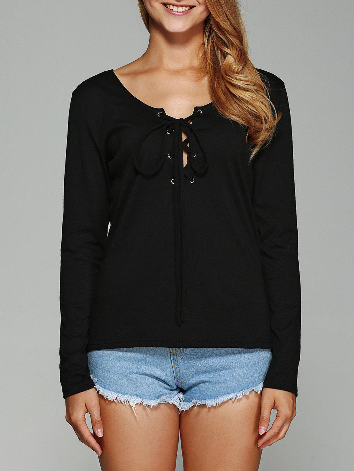 Lace-Up Plain Slimming T-Shirt - BLACK L