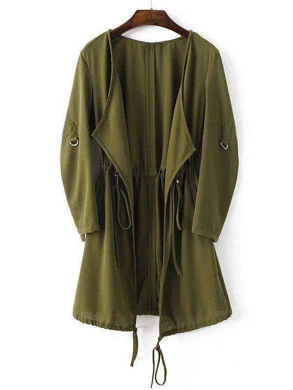 Adjustable Sleeve Drawstring Waist Trench Coat - ARMY GREEN L