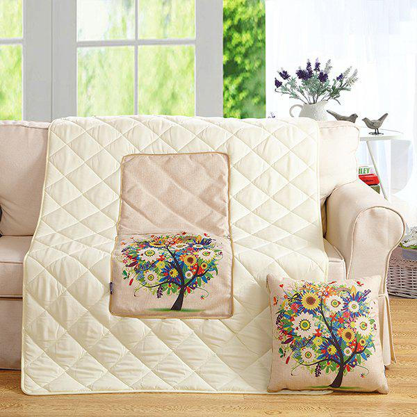 Colorful Tree Two Uses Cushion Pillow Noon Break QuiltHome<br><br><br>Color: COLORFUL
