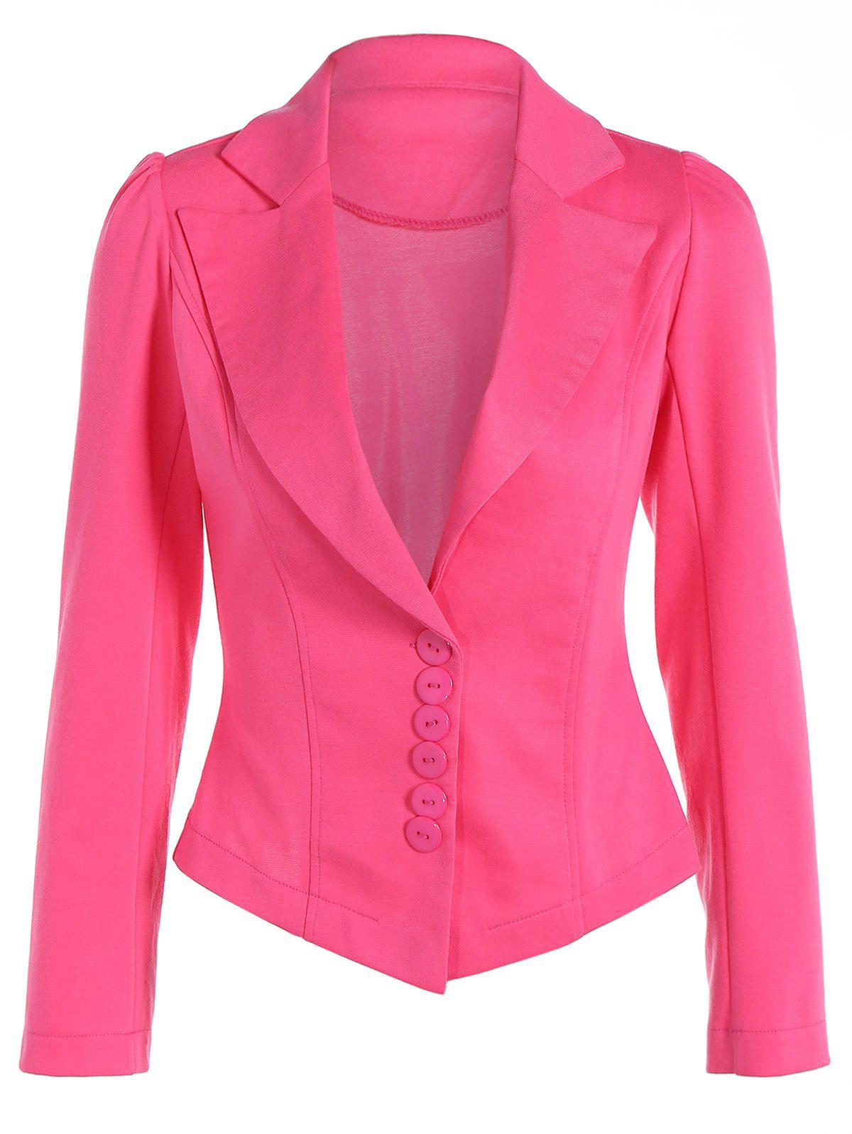 Asymmetric Lapel Single Breasted Blazer - DEEP PINK S