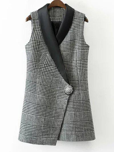 One Button Houndstooth Waistcoat - WHITE/BLACK S
