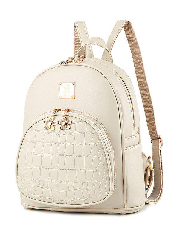 Metallic Flowers PU Leather Crocodile Embossed Backpack - OFF WHITE