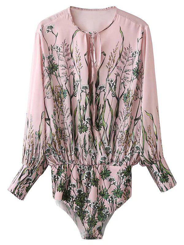 Long Sleeve Floral Bodysuit - PINK S
