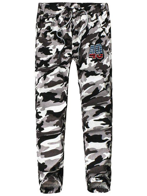 Elasticity Camouflage Lace-Up Jogger Pants - WHITE XL