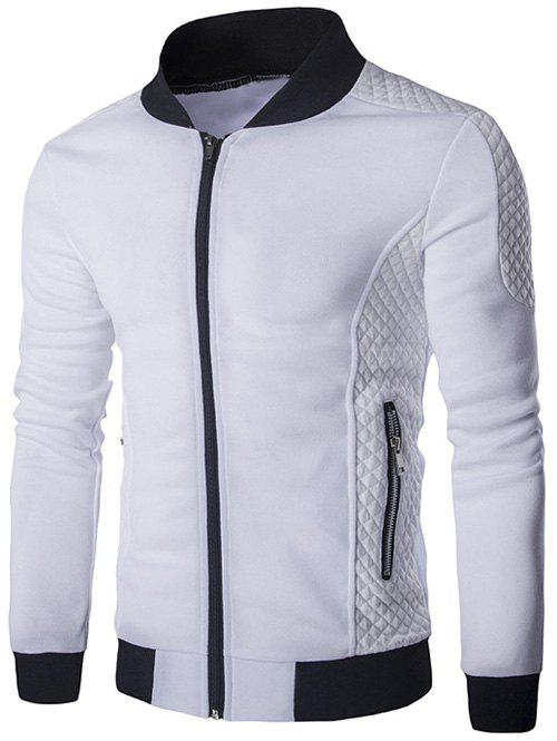 Rib and Argyle Splicing Stand Collar Zip-Up JacketMen<br><br><br>Size: 2XL<br>Color: WHITE