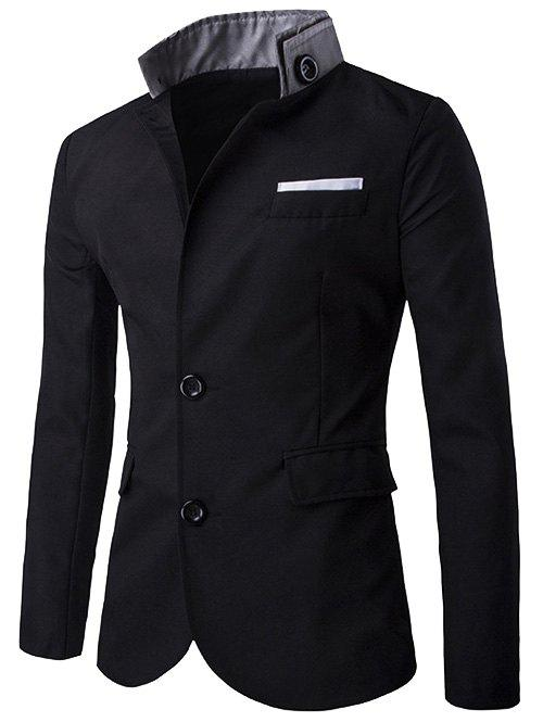 Two Button Embellished Flap Pocket Blazer - BLACK M