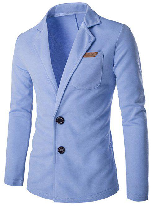 Lapel single-breasted PU-cuir Applique cotonnades Jacket - Bleu M