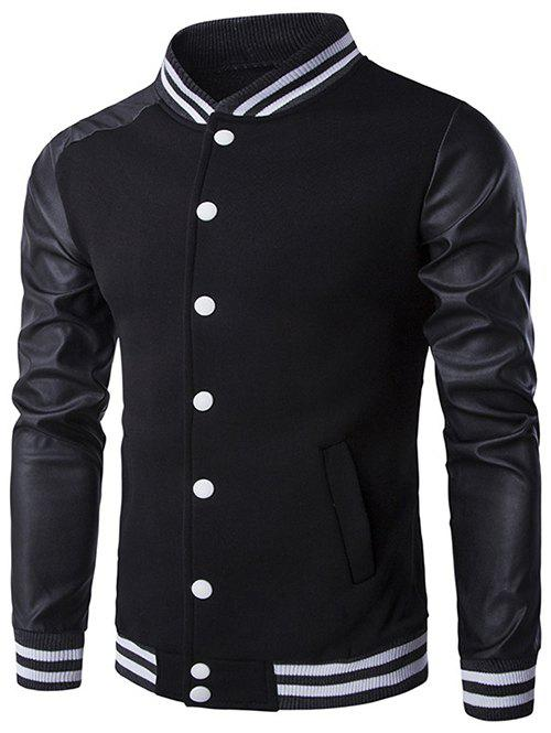 Stand Collar PU-Leather and Stripe Rib Splicing Jacket 196934207