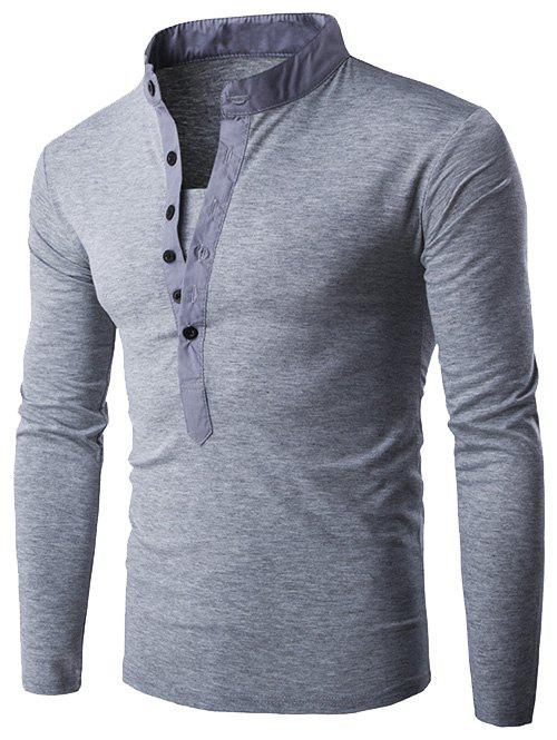 Half Single-Breasted Embellished Long Sleeve T-Shirt - LIGHT GRAY M