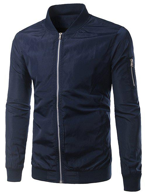 Rib Splicing pied de col Zip-Up Polyester Jacket - Bleu Cadette XL