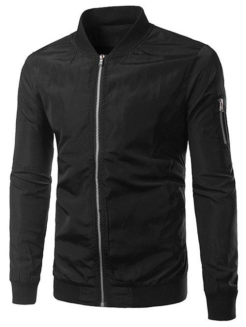 Rib Splicing pied de col Zip-Up Polyester Jacket - Noir XL