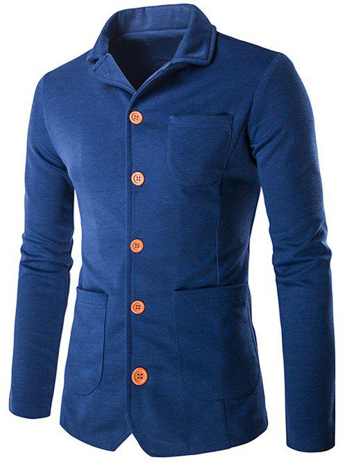 Single-breasted poches design Turn-Bas Collar Jacket - Bleu XL