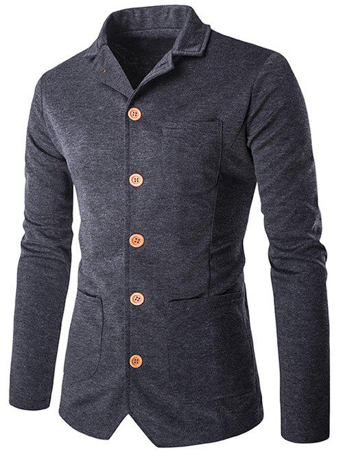 Single-breasted poches design Turn-Bas Collar Jacket - gris foncé M